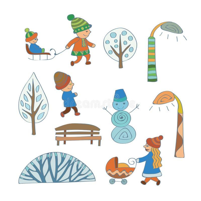 Winter outdoor activities. Cartoon winter scene elements royalty free stock photo