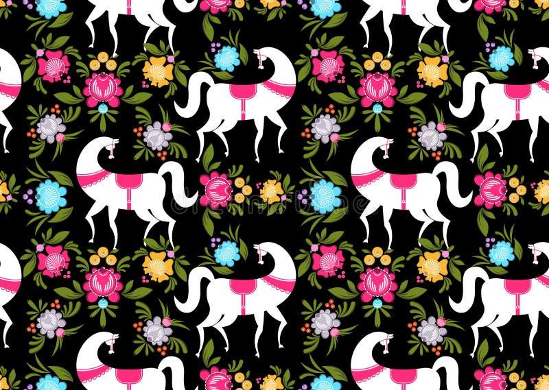 Gorodets die Zwart paard en bloemen naadloos patroon schilderen Russi vector illustratie