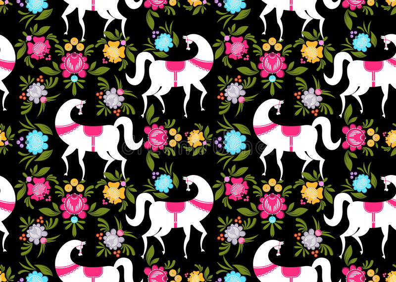 Gorodets painting Black horse and floral seamless pattern. Russian national folk craft ornament. Traditional decoration texture p vector illustration