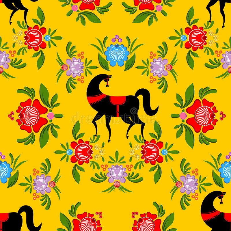 Gorodets painting Black horse and floral seamless pattern. Russian national folk craft ornament. Traditional decoration texture p. Ainting in Russia. Flowers and vector illustration