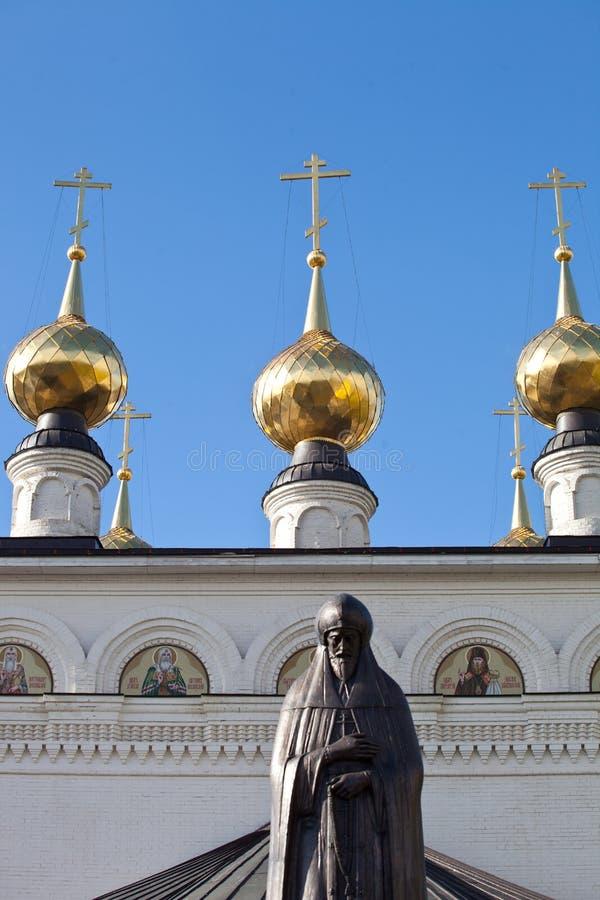 Gorodets Russland 5 Oktober 2018 Monument zu Prinzen Alexander Nevsky in seinem Sterbeort, in Feodorovsky-Kloster in Gorodets lizenzfreies stockbild