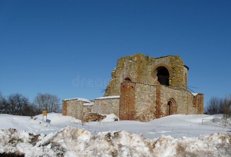 Gorodosche de Rurikovo no inverno imagens de stock