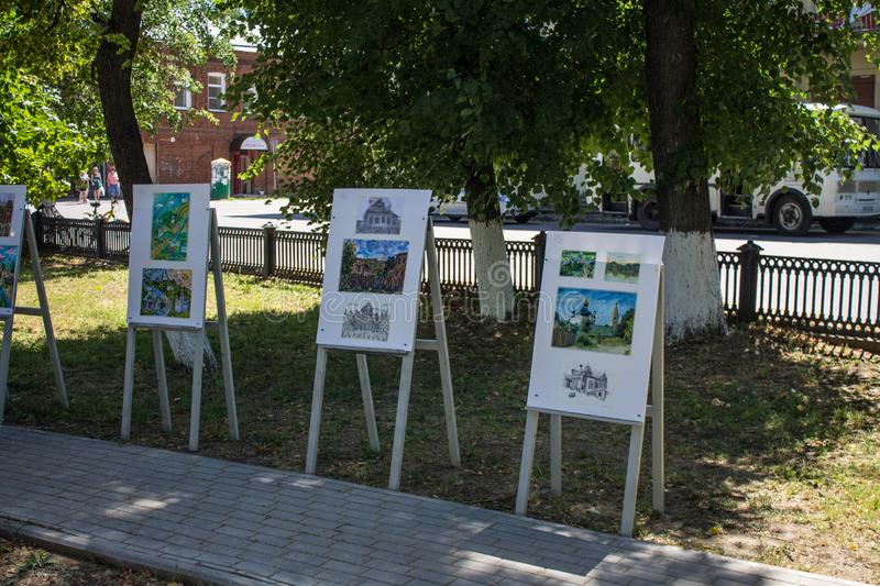 Gorokhovets, Vladimir region / Russia - June, 23, 2019: street exhibition of paintings by young artists. Street art exhibition in Gorokhovets Russia young stock photo