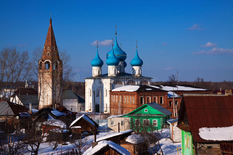 Gorokhovets in winter. Russia. Cathedral of the Annunciation (build in 1700) at Gorokhovets in winter. Russia royalty free stock photos