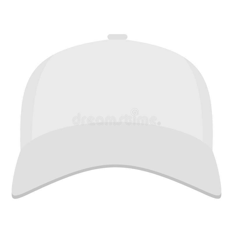 Gorra de béisbol blanca en el icono delantero, estilo plano stock de ilustración