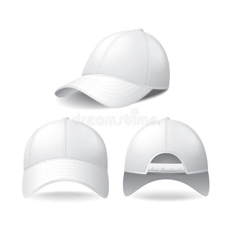 Gorra De Béisbol Blanca En El Vector Blanco Ilustración del Vector ...