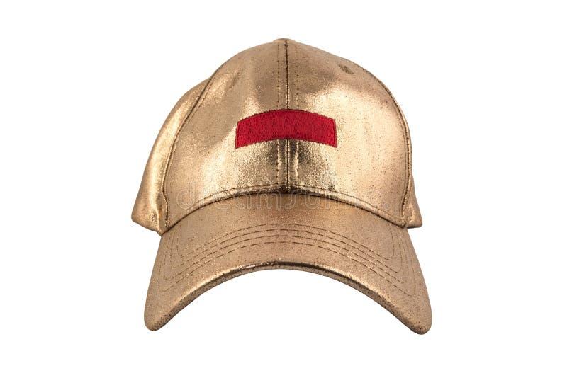 Gorra de béisbol en blanco de oro aislada en el fondo blanco fotografía de archivo libre de regalías