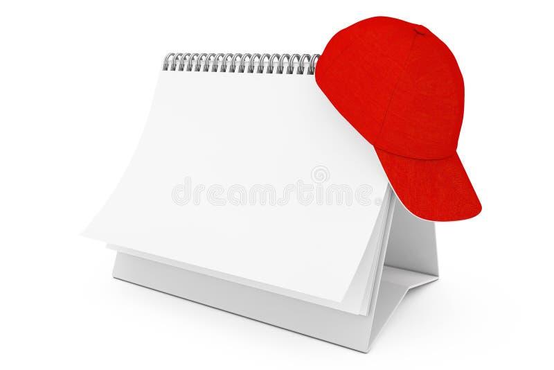 Gorra de béisbol roja del espacio en blanco de la moda sobre el espiral Cale del escritorio del papel en blanco ilustración del vector