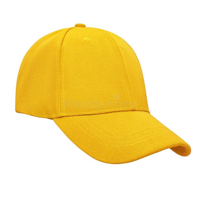 Gorra de b?isbol amarilla aislada fotos de archivo libres de regalías