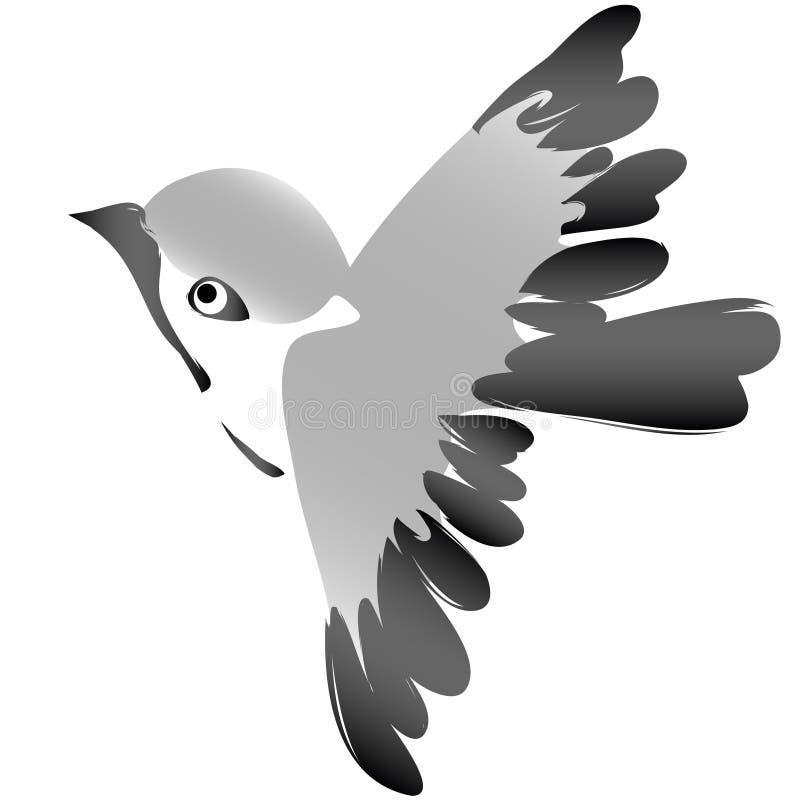 Gorrión que vuela el scketch espontáneo stock de ilustración