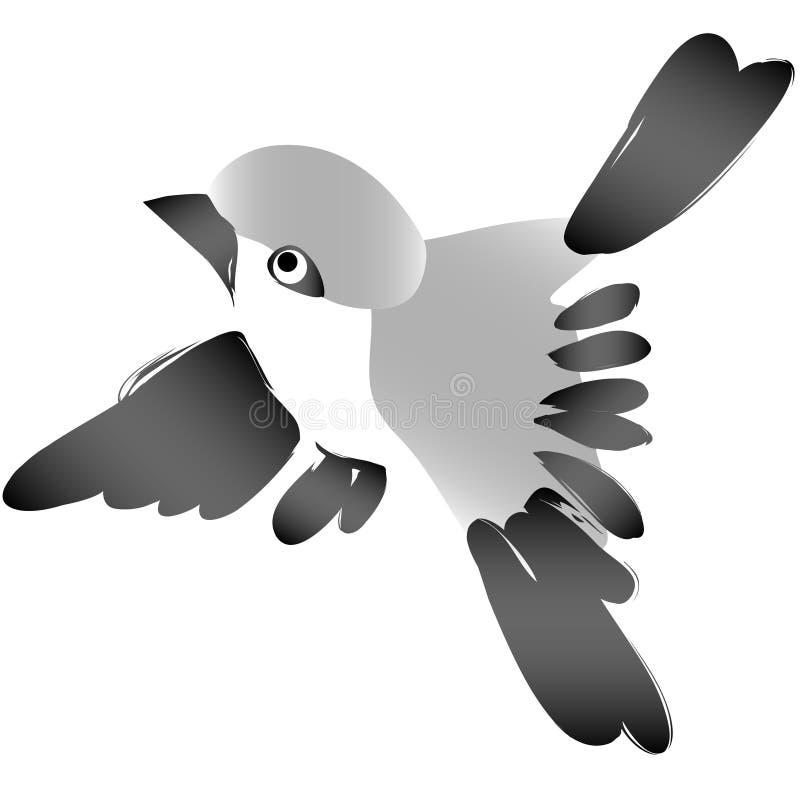 Gorrión que vuela el scketch espontáneo ilustración del vector