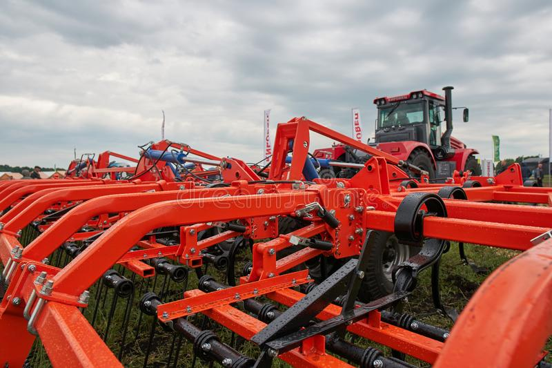 Farm implement. Goryainovka, Mordovia, Russia - June 28, 2019: A farm implement at the public event Russian Plowing Championship royalty free stock images