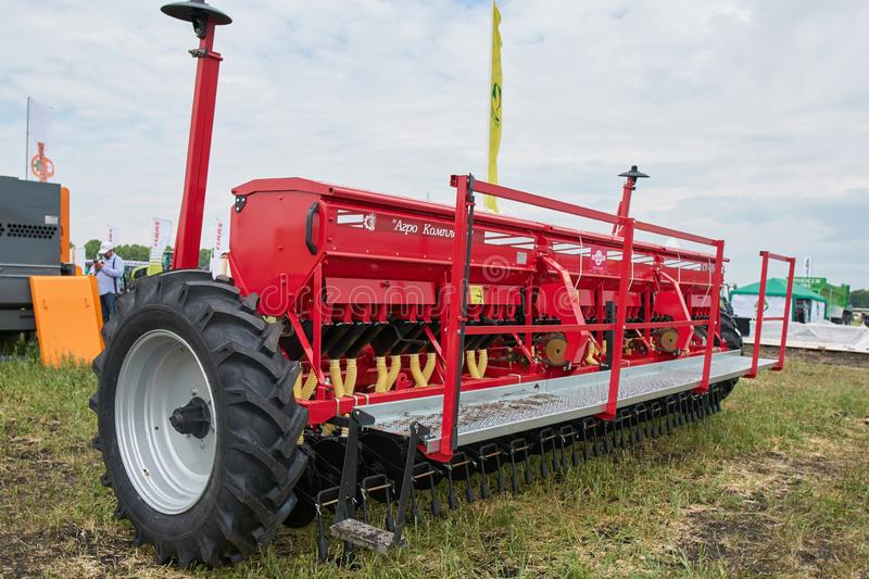 Farm implement. Goryainovka, Mordovia, Russia - June 28, 2019: A farm implement at the public event Russian Plowing Championship stock photos
