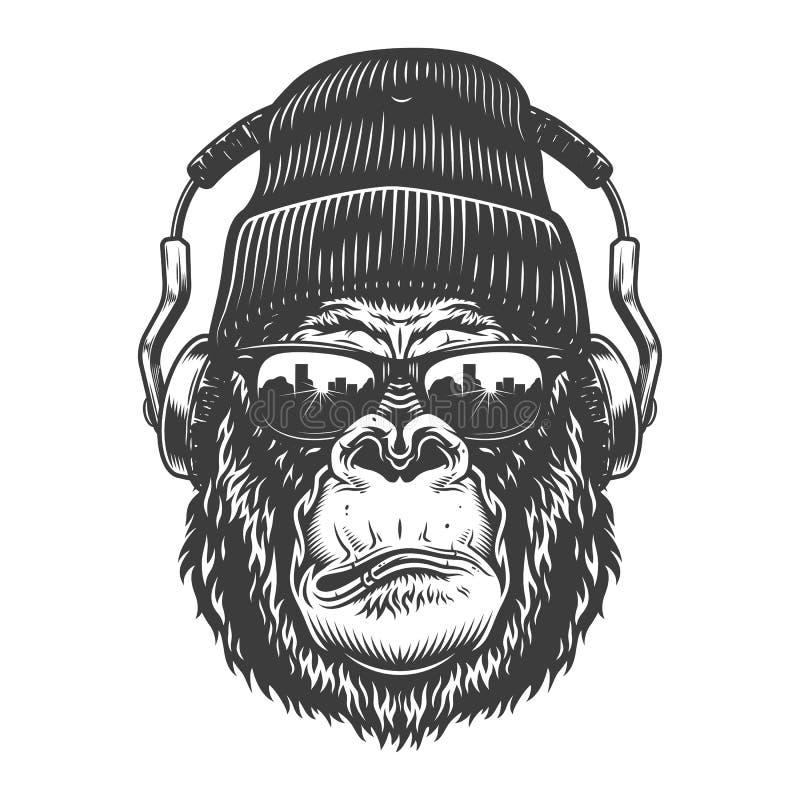 Goryl głowa w monochromu stylu ilustracja wektor