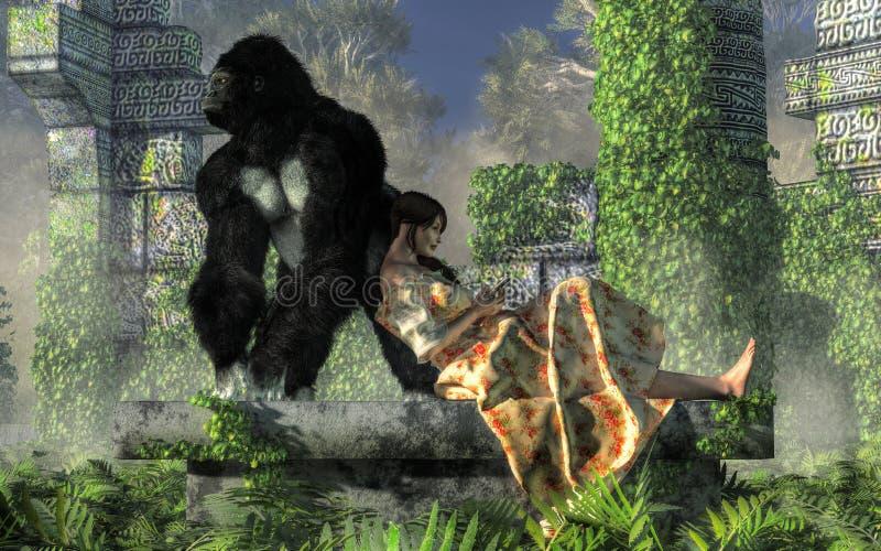 Goryl i opiekunka do dziecka royalty ilustracja