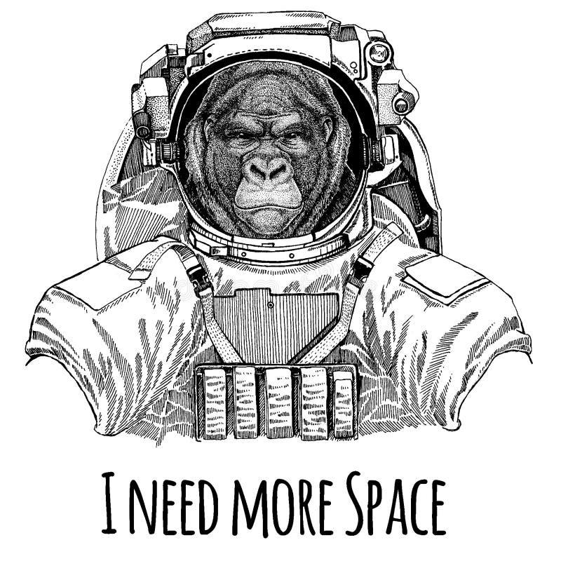Goryl, małpa, małpuje Frightful zwierzęcego astronauta Astronautyczny kostium Wręcza patroszonego wizerunek lew dla tatuażu, kosz ilustracji