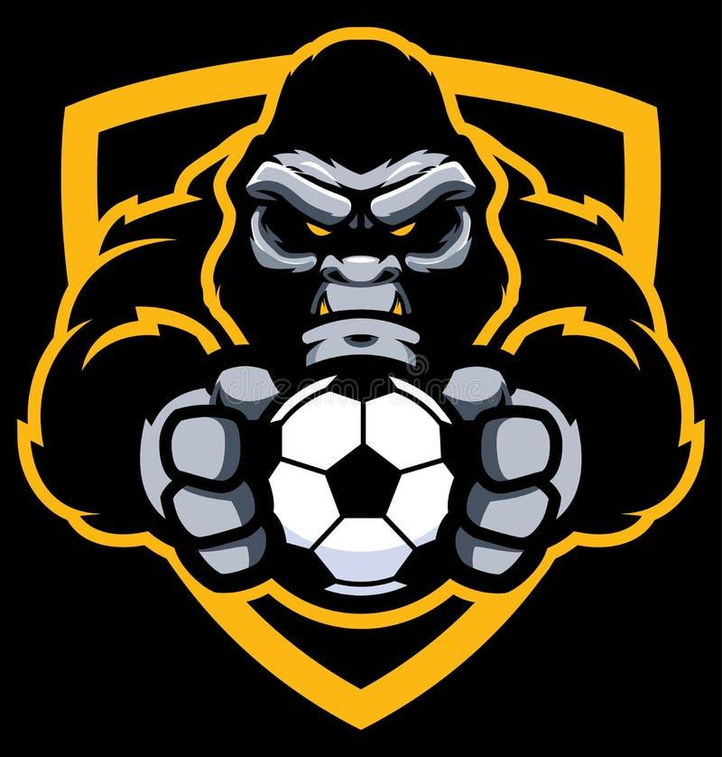 Goryl piłki nożnej Futbolowa maskotka royalty ilustracja