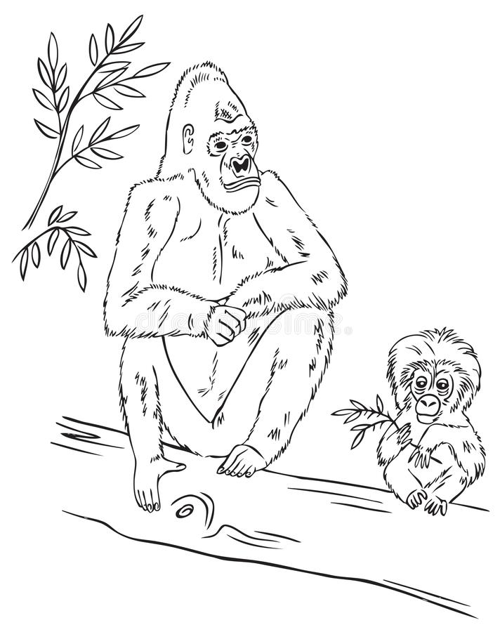 Goryl rodzina na drzewie ilustracji