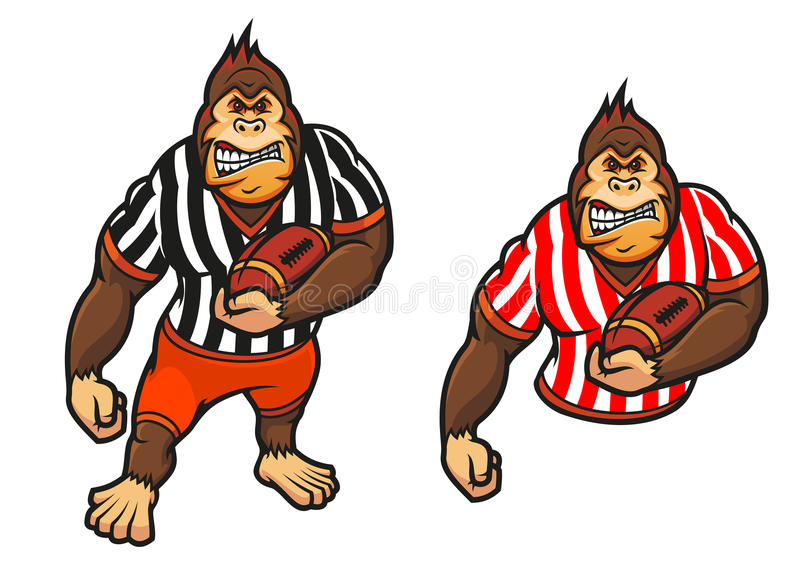 Goryla gracz z rugby piłką ilustracja wektor