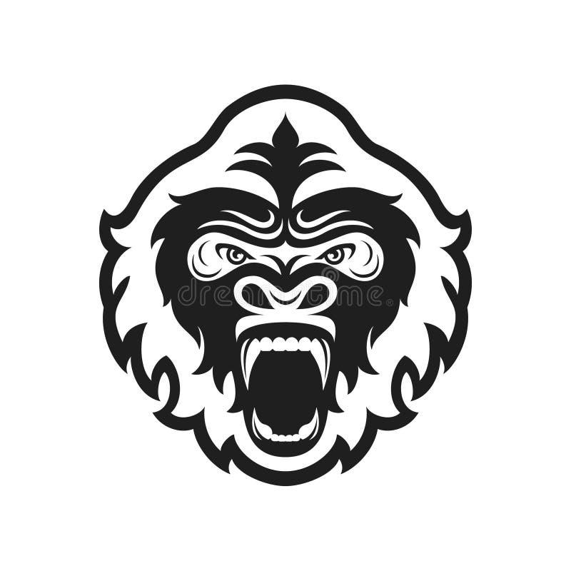 Goryla kierowniczy logo dla sport drużyny lub klubu Zwierzęcy maskotka logotyp szablon również zwrócić corel ilustracji wektora ilustracji
