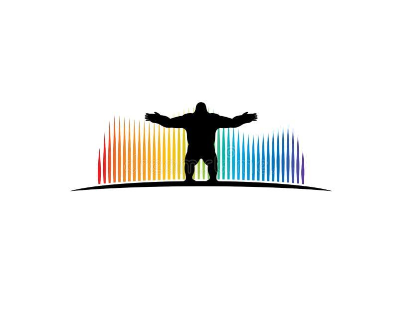 Goryla stojak przed aurora borealis ilustracji