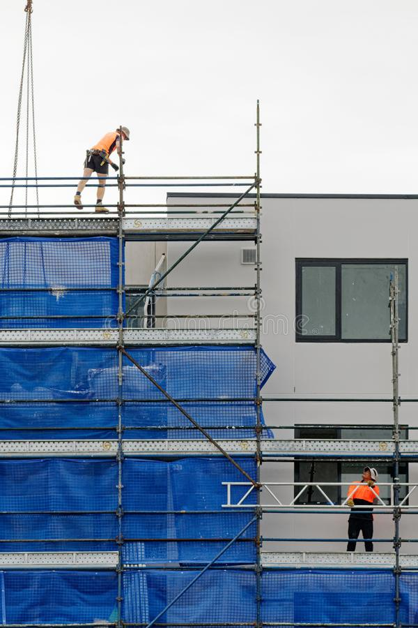 Building progress update 183 At 47 Beane St. Gosford. February 2019. Gosford, New South Wales, Australia - February 21, 2019: Removing scaffolding and safety royalty free stock images