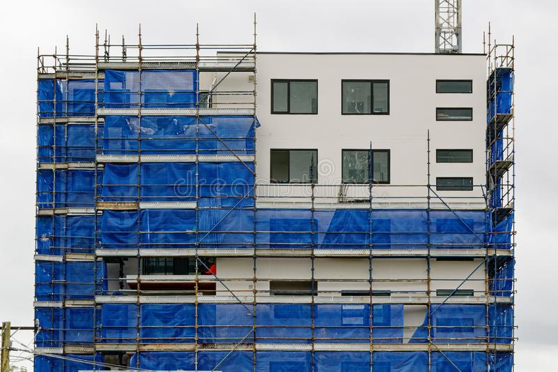 Building progress update 186. At 47 Beane St. Gosford. February 2019. Gosford, New South Wales, Australia - February 21, 2019: Removing scaffolding and safety stock images