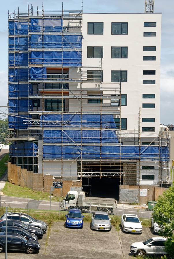 Building progress update 187. At 47 Beane St. Gosford. February 2019. Gosford, New South Wales, Australia - February 21, 2019: Removing scaffolding and safety royalty free stock photo
