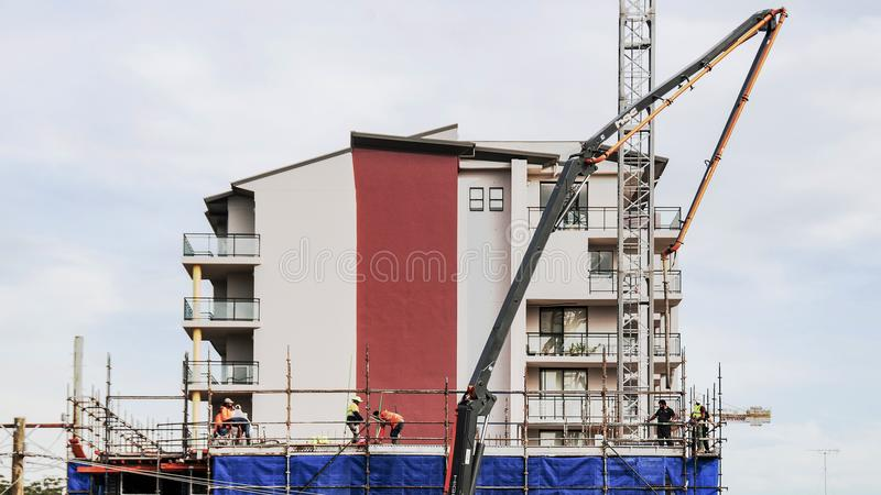 Building progress 91. At 47 Beane St. Gosford. June 2018. Gosford, New South Wales, Australia - June 13. 2018: Construction progress update 91. Pumping concrete royalty free stock images