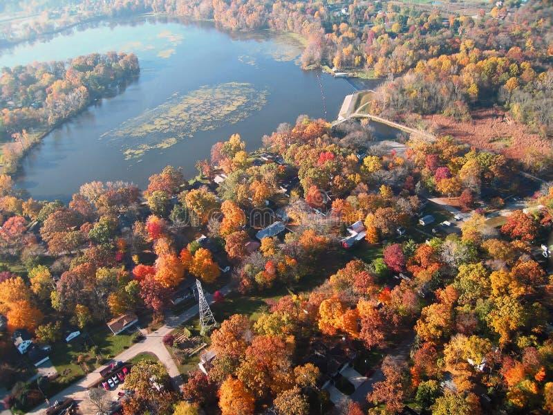 Goshen Pond and neighborhood royalty free stock image