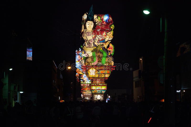 Goshogawara田智Neputa (站立的浮游物)节日 免版税图库摄影