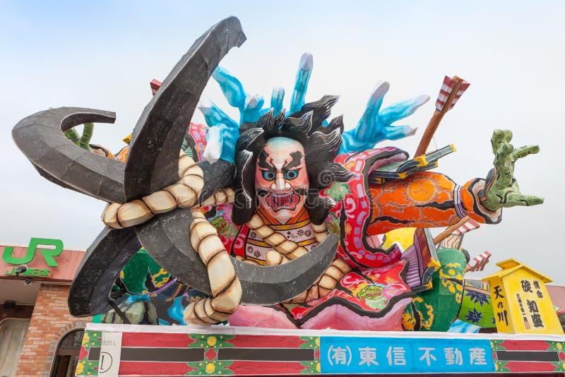Goshogawara田智Neputa (站立的浮游物)节日 免版税库存图片