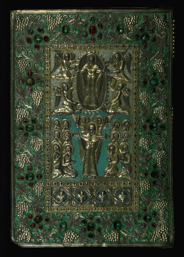 Gospel Book, Original treasure binding, Walters Manuscript W.540, Lower board outside stock photography