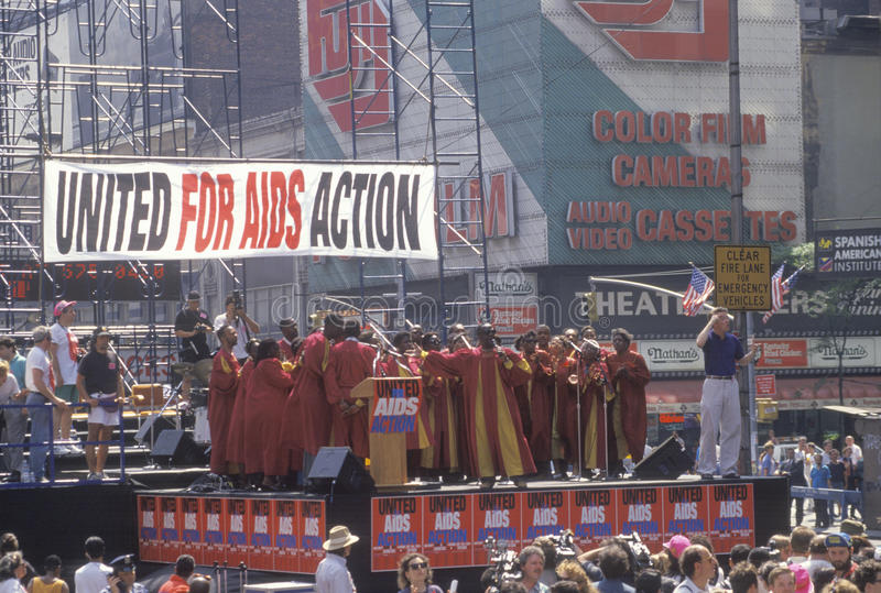 Gospel choir performing at AIDS rally stock images