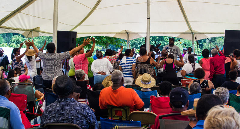"""Gospel Music Event at Booker T. Washington National Monument. Franklin County, VA – June 18th: Gospel music at the annual """"Juneteenth Gospel Event royalty free stock images"""