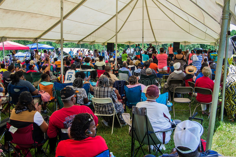 """Gospel Music Event at Booker T. Washington National Monument. Franklin County, VA – June 18th: Gospel music at the annual """"Juneteenth Gospel Event royalty free stock photos"""