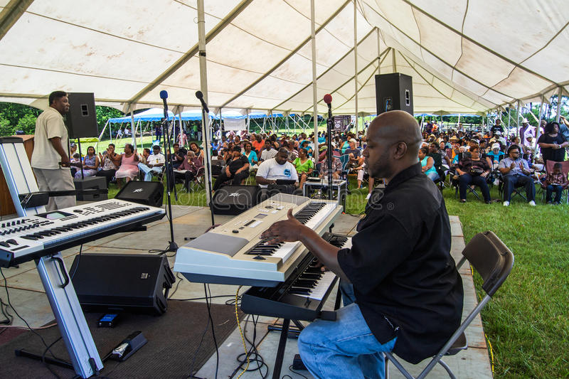"""Gospel Music Event at Booker T. Washington National Monument. Franklin County, VA – June 18th: Gospel music at the annual """"Juneteenth Gospel Event royalty free stock photo"""