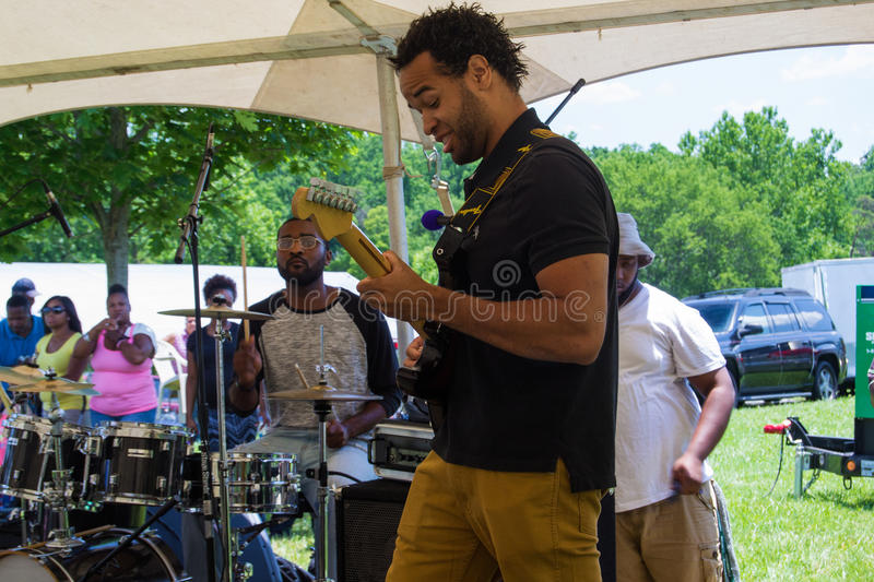 """Gospel Music Event at Booker T. Washington National Monument. Franklin County, VA – June 18th: Gospel music at the annual """"Juneteenth Gospel Event royalty free stock image"""