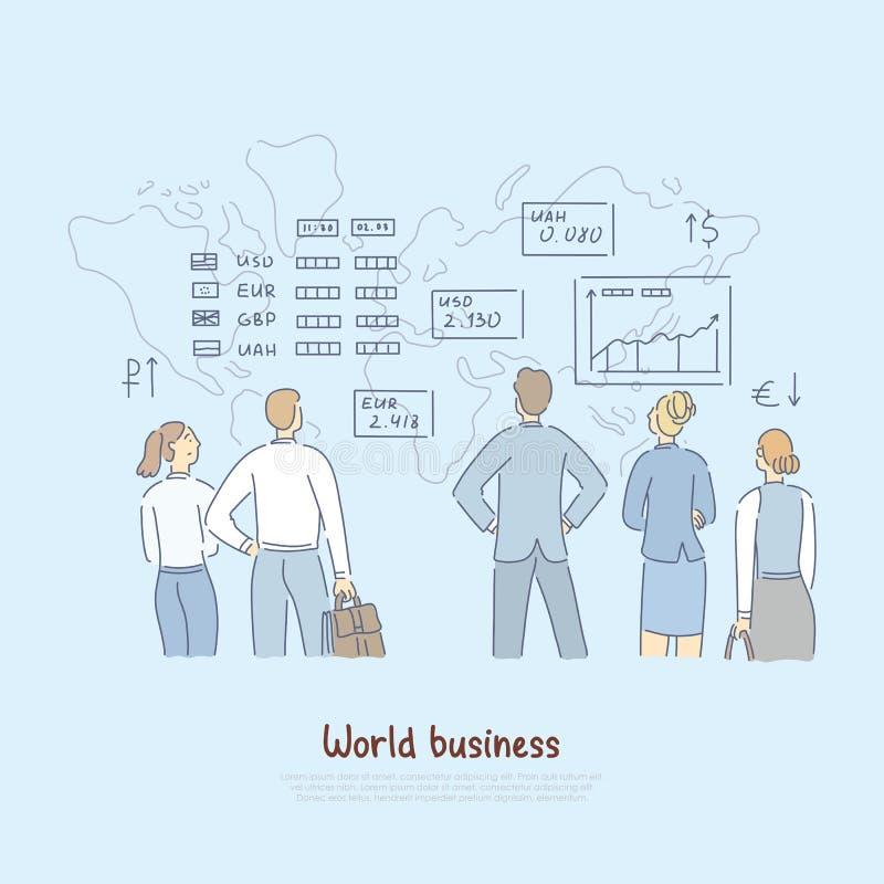Gospodarek światowych analityka, finansowi eksperci analizuje słów biznesowych tempa, obcej waluty stabilności sztandar ilustracji