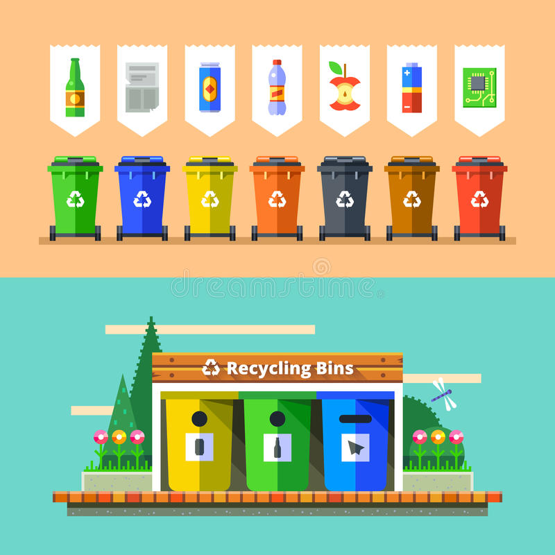 Gospodarka odpadami i przetwarza pojęcie Płaski wektor ilustracji