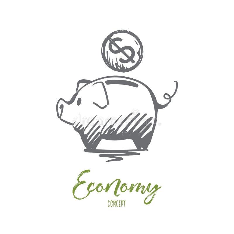 Gospodarka, pieniężna, deponuje pieniądze, ukuwa nazwę, pojęcie Ręka rysujący odosobniony wektor ilustracji