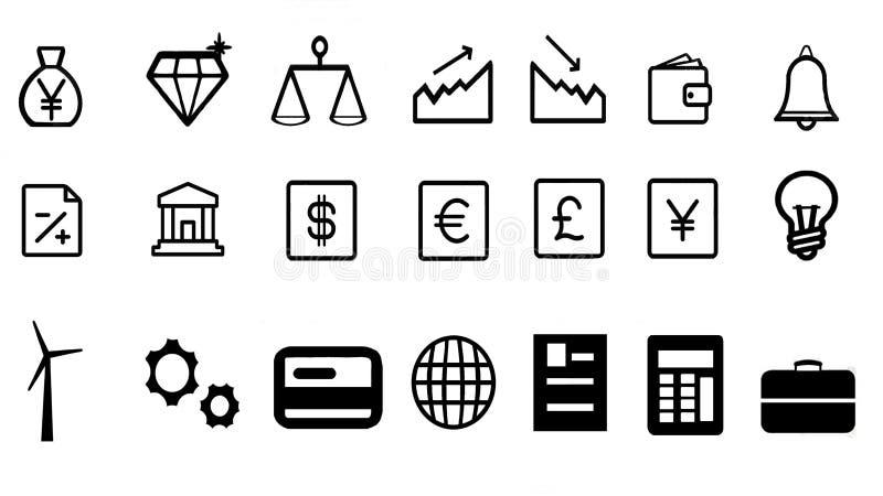Gospodarka symboli/lów biznesowe energetyczne ikony ilustracji
