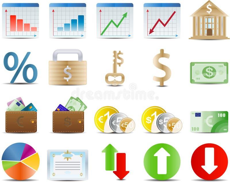 gospodarki finansowy ikony zapas ilustracja wektor