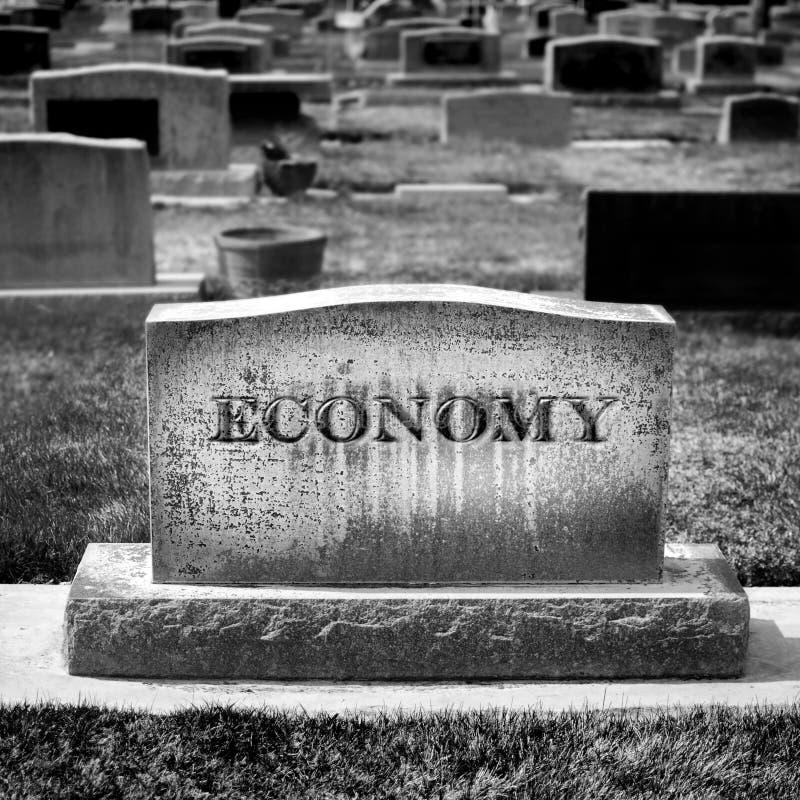Gospodarki Gravestone Reprezentuje śmierć zdjęcia stock