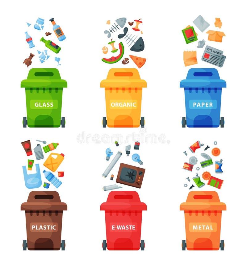 Gospodarki odpadami pojęcia segregaci separacyjni pojemnik na śmiecie sortuje przetwarzający usuwań odmówić kosza wektoru ilustra royalty ilustracja