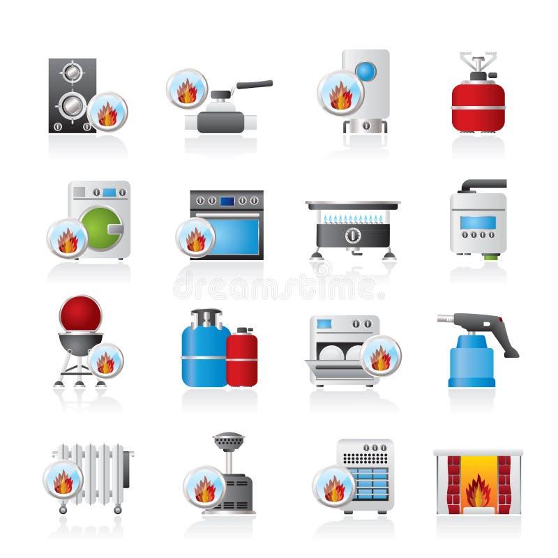 Gospodarstw domowych Benzynowych urządzeń ikony royalty ilustracja