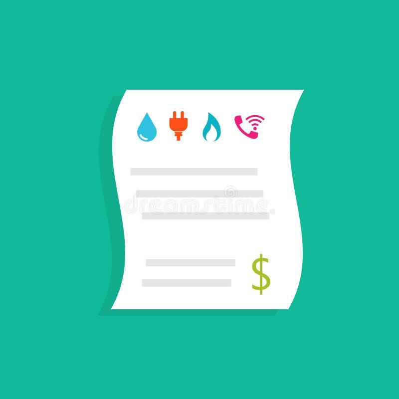 Gospodarstw domowych rachunek za usługę komunalną ilustracja wektor