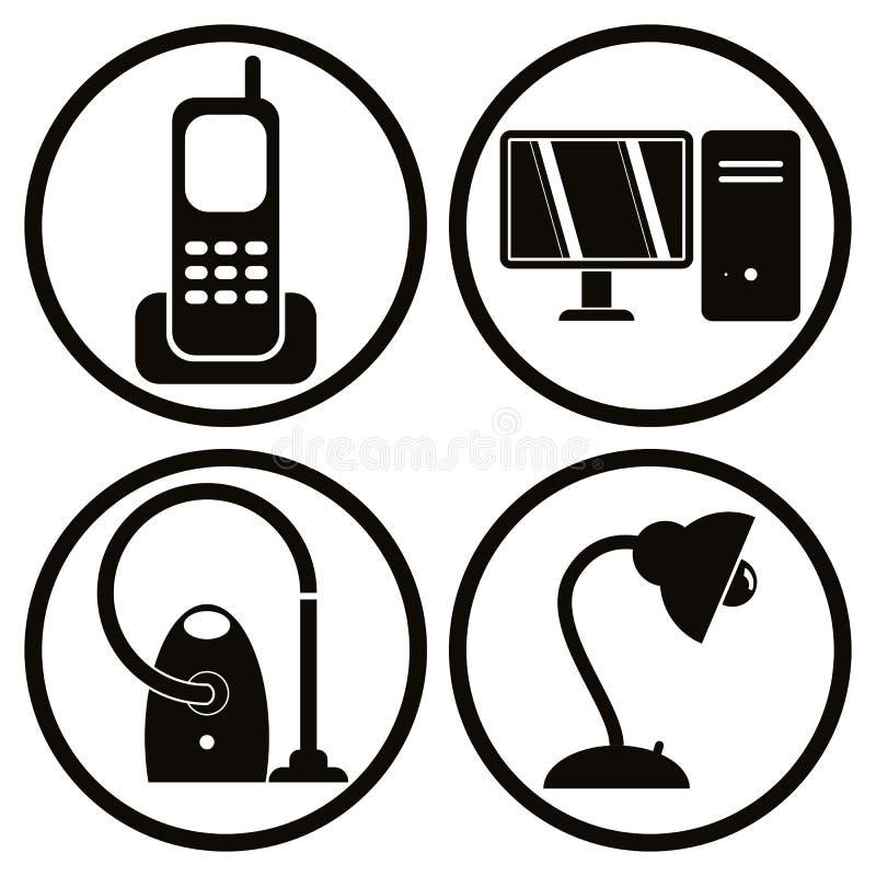Gospodarstw domowych urządzeń ikony ustawiają 1 royalty ilustracja