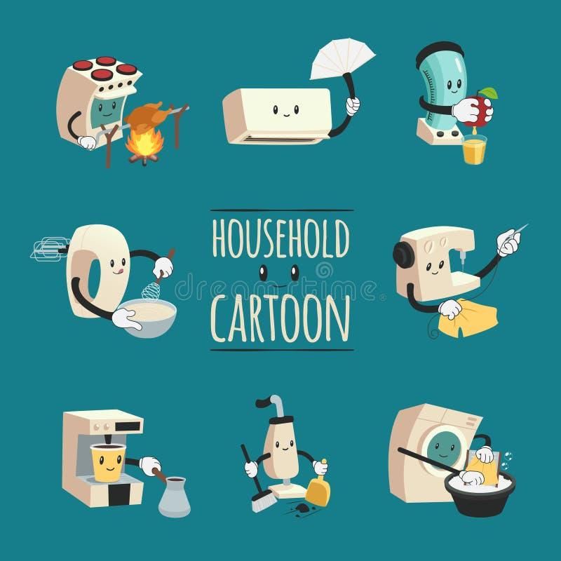 Gospodarstw domowych urządzeń kreskówki projekta pojęcie ilustracji