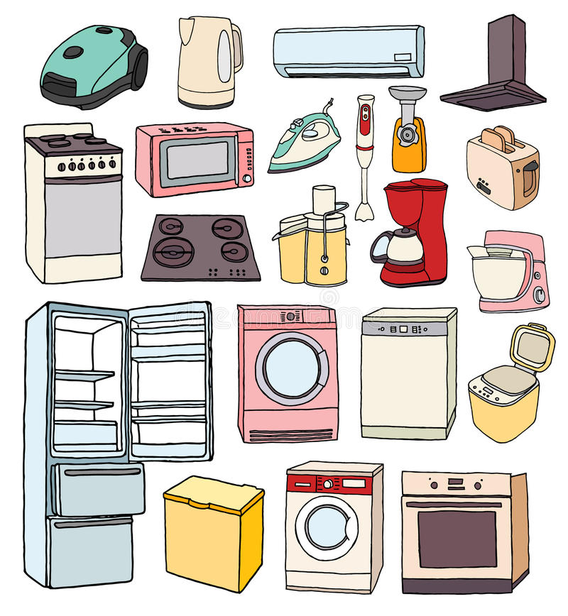 Kuchenni Urządzenia Ustawiający Kuchennych Urządzeń Doodle ...